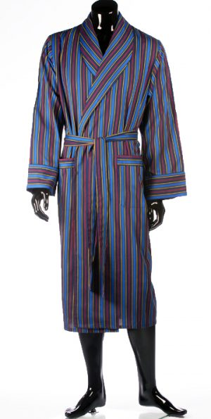 Lloyd Attree Striped Cotton Light Weight Dressing Gown