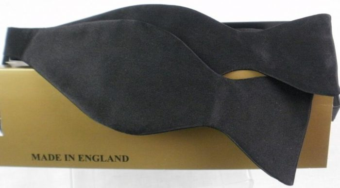 Hunt & Holditch Poly Satin Tie Yourself Bow Tie - Black