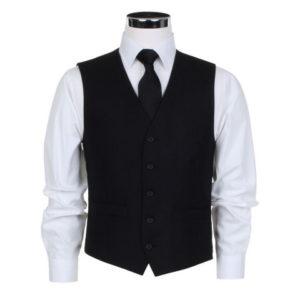 Scott Masonic Herringbone Waistcoat - Black