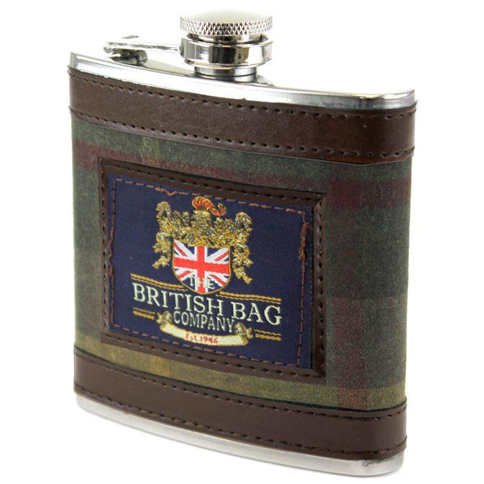 British Bag Company - Green Millerain Hip Flask