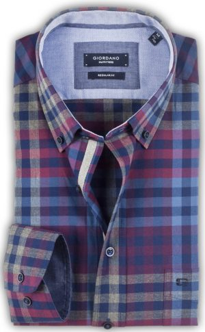 Giordano - Roosevelt Twill Check Shirt - Red