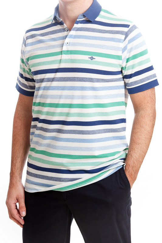 Baileys Striped Polo Shirt - Blue & Green