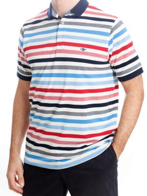 Baileys Striped Polo Shirt - Red & Blue