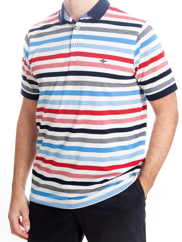 Baileys Striped Polo Shirt - Red & Blue