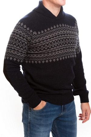 Barbour Kersal Shawl Sweater-Navy