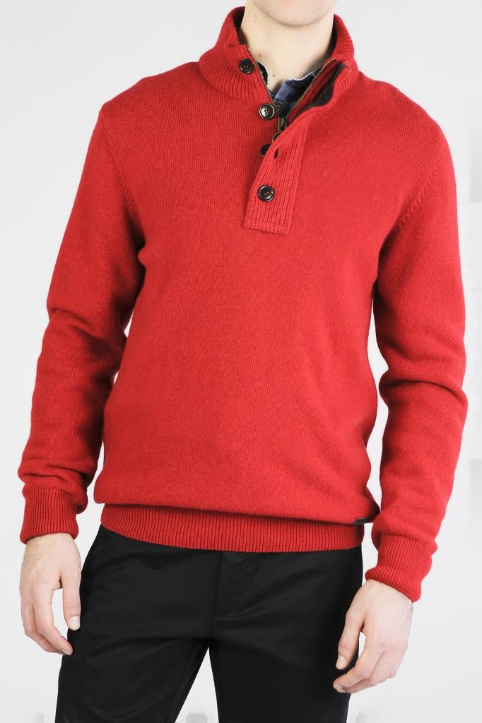 Barbour Patch Half Zip Sweater-Red