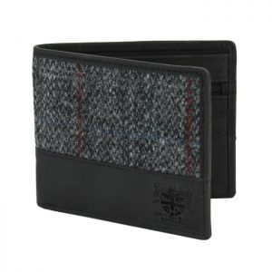 British Bag Company - Harris Tweed Black and Grey Wallet