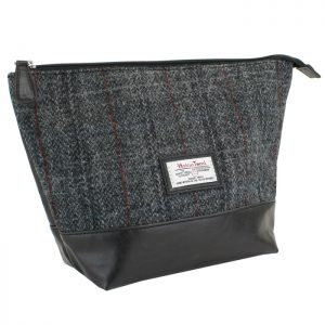 British Bag Company - Harris Tweed Black and Grey Wash Bag