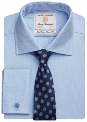 Brook Taverner Andora Double Cuff Herringbone - Blue