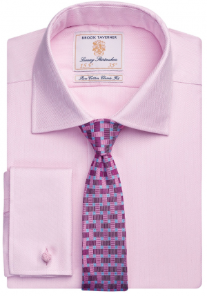 Brook Taverner Andora Double Cuff  Herringbone - Pink