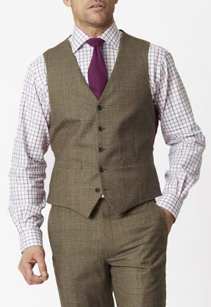 Brook Taverner Tennyson 100% Wool Country Check - Suit Waistcoat