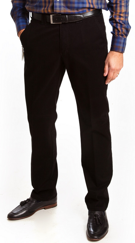 Club of Comfort Cotton Casual Trousers Denver Fit - Black