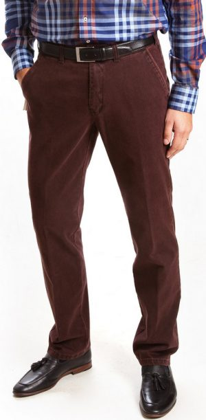 Club of Comfort Cotton Casual Trousers - Wine - Caspar