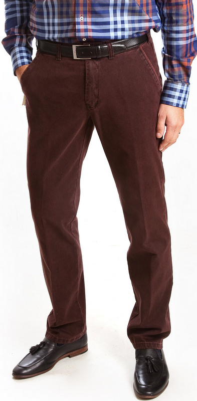 Club of Comfort Cotton Casual Trousers - Wine - Caspar