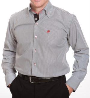 Culture Smart Shirt - Charcoal Narrow Stripe