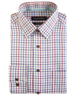 Double Two Brushed 100% Cotton Shirt - Blue Check