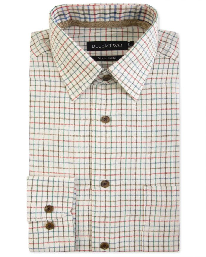 Double Two Brushed 100% Cotton Shirt - Brown Check