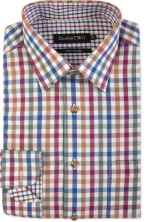 Double Two Brushed  100% Cotton Shirt - Multi Check