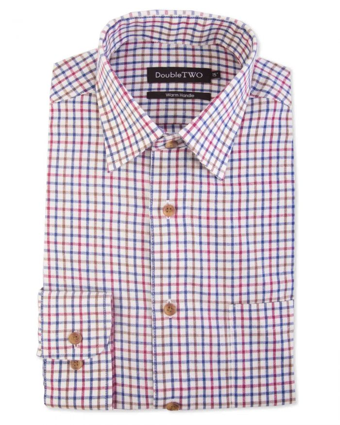 Double Two Brushed 100% Cotton Shirt - Fine Check