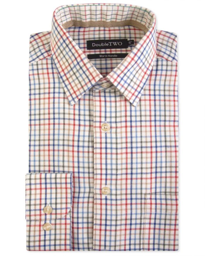 Double Two Brushed 100% Cotton Shirt -Rust Check