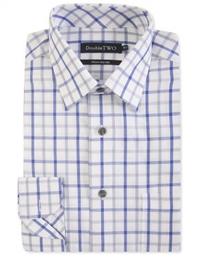 Double Two Brushed 100% Cotton Shirt - Navy Check