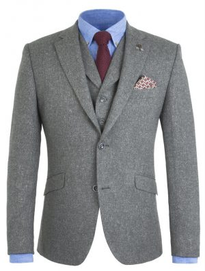 Peaky Blinders Inspired Suit Jacket - Gunmetal Grey Fleck