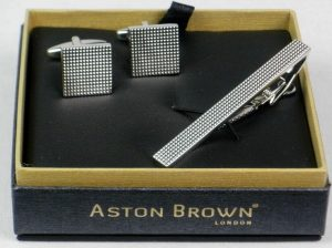 Aston Brown Cufflink & Tie Clip Set