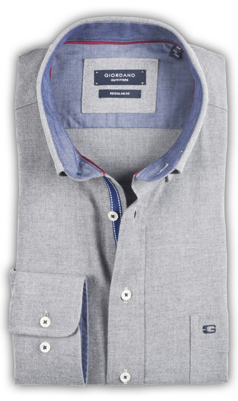 Giordano - Franklin Flannel Shirt- Silver