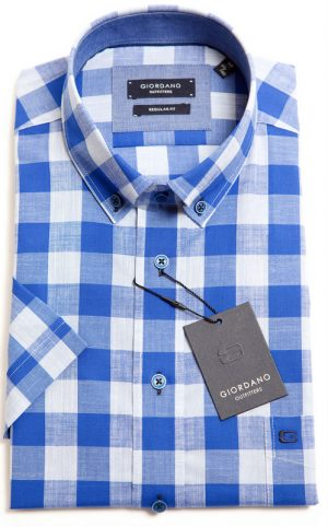 Giordano Short Sleeved Shirt - Blue & Silver Check