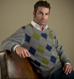 Hawick Dove Grey Diamond Effect Sweater