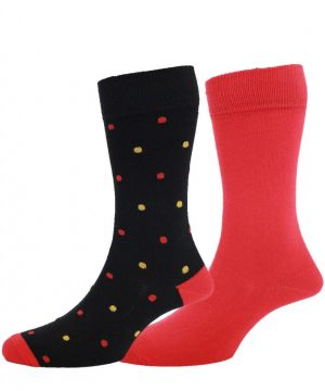 HJ 2Pack Luxury Cotton Rich Spotted Socks - Red / Black