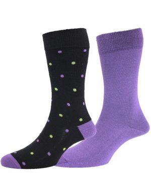HJ 2Pack Luxury Cotton Rich Spotted Socks - Purple / Black