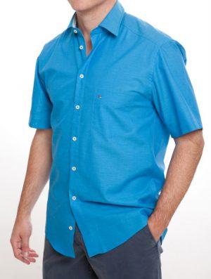 Jupiter 100% Cotton Short Sleeved Shirt - Blue