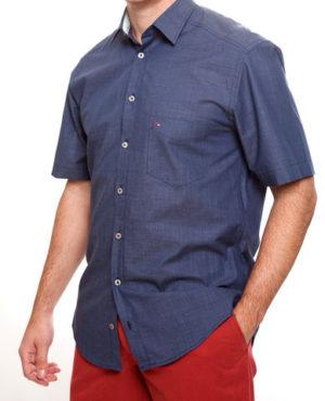 Jupiter 100% Cotton Short Sleeved Shirt - Navy