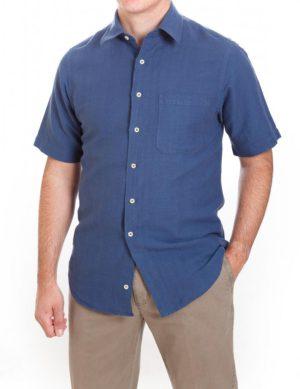 Laine Taylor Linen Mix Plain Short Sleeved Shirt