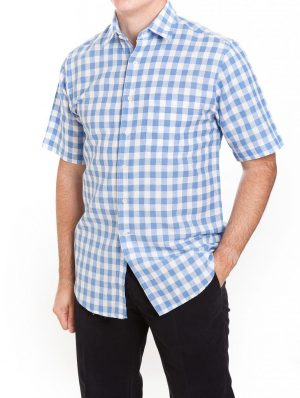 Laine Taylor Linen Mix Short Sleeved shirt - Check