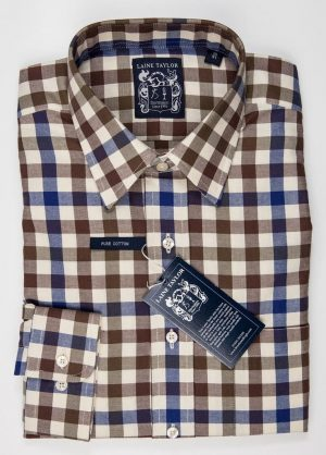 "Laine Taylor Twill Check Shirt 1416 - Size 15"" Only"