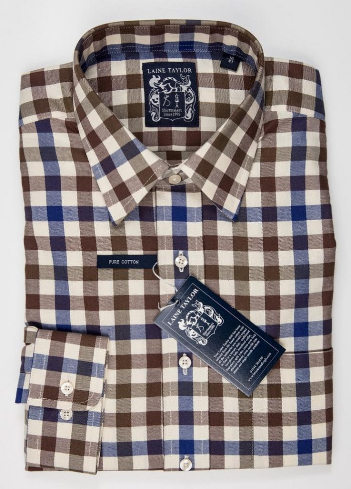 """Laine Taylor Twill Check Shirt 1416 - Size 15"""" Only"""