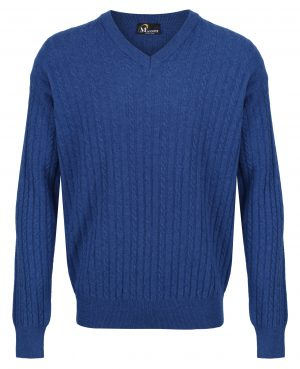Massoti 100% Lambswool Fine Knit Cable V-Neck