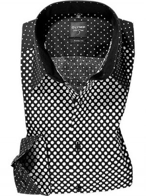 OLYMP Level Five Slim Fit Shirt -  Black and White Spots