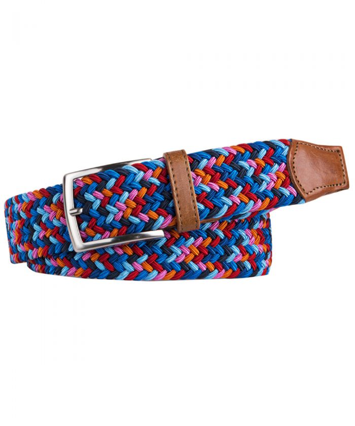 Profumo Woven Belt With Leather Trim - Multi Colour