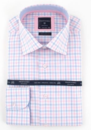 Profuomo 100% Cotton Check shirt-Pink