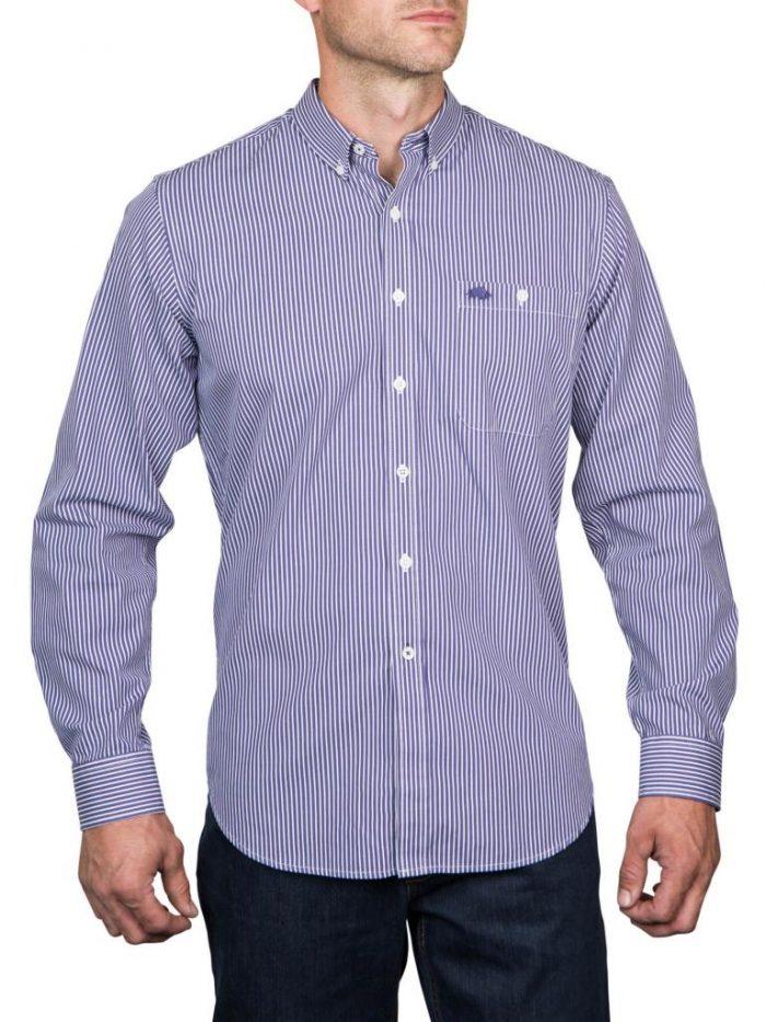 Raging Bull Bengal Stripe Shirt - Purple/White.