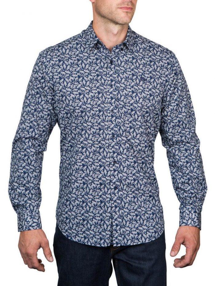Raging Bull Floral Print Shirt - Navy / White