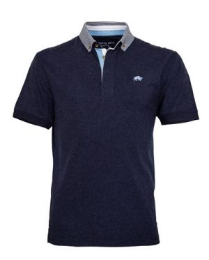 Raging Bull Stripe Collar Jersey Polo – Navy