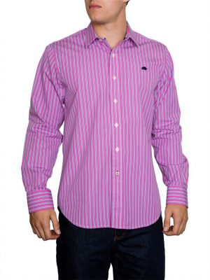 Raging Bull Varied Stripe L/S Shirt - Vivid Pink