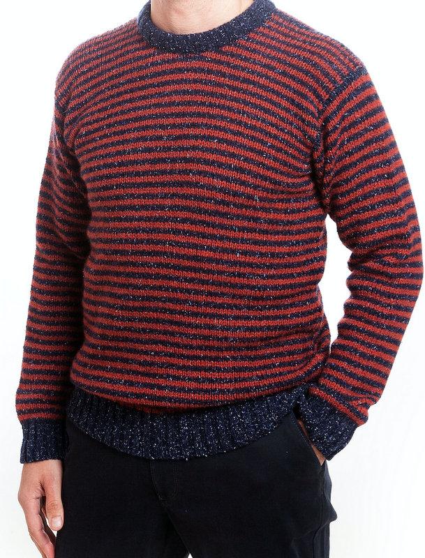 Scott Officer Silk & Wool Ribbed Striped Jumper - Blue & Red