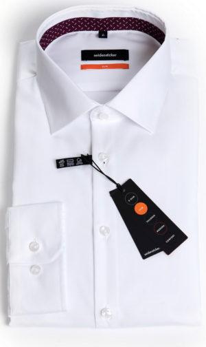 Seidensticker Slim Fit Shirt - White Mirco Twill