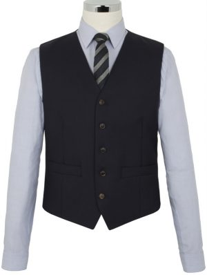 The Label Esteem Range - Waistcoat - Navy Sharkskin