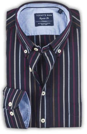 Today's Man Long Sleeved Shirt - Multi Stripe